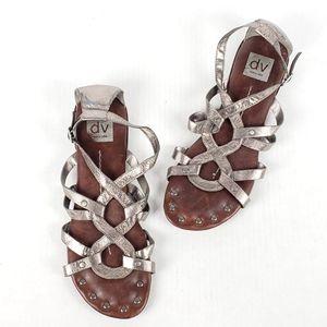 Dolce Vita Silver Studded Gladiator Sandals 9.5